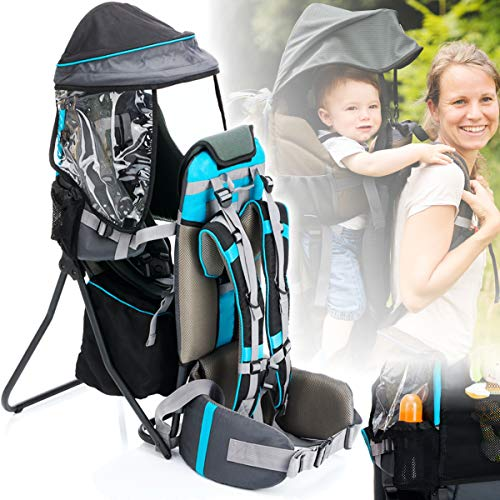Baby Rückentrage mit SONNENDACH/REGENDACH (Ultra leicht) Kinder Trage (GRAU/BLAU)