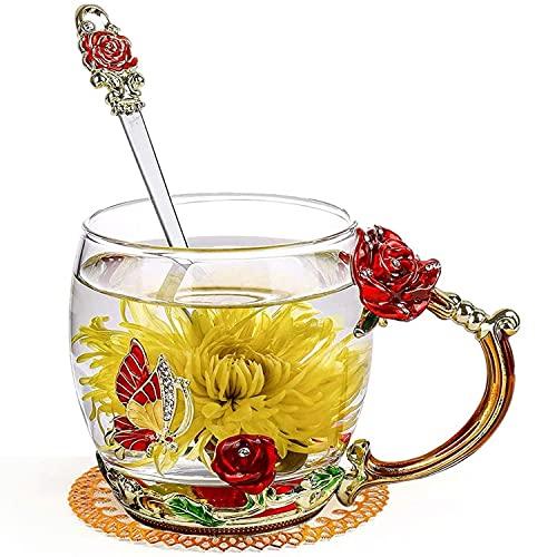 GUIFIER Glasteetassen mit Blumen Glas Tasse,Emaille Teetasse mit Löffel Glas Kaffeetasse mit Henkel,Glas Teetassen Blume Glaswasserflasche Kaffeebecher für Frauen Valentinstagsgeschenk Mama Geburtstag