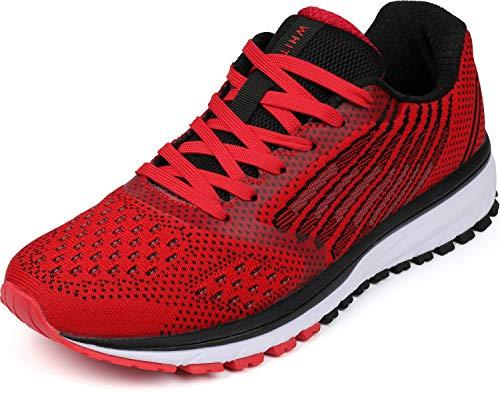 WHITIN Unisex Sportschuhe Damen Herren Turnschuhe Laufschuhe Sneakers Männer Walkingschuhe Outdoor Modisch Bequem Joggingschuhe Fitness Schuhe Rot Größe 42