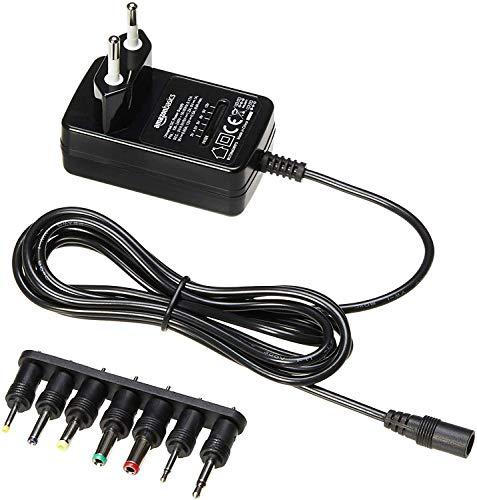 Amazon Basics - Universal-Steckernetzteil mit 7 abnehmbaren Steckern, 3-12V (Gleichspannung), umkehrbare Polarität