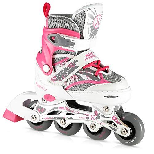 Nils Extreme Kinder Mädchen Inliner Inlineskates Größenverstellbar | 82A Rollen | ABEC7 Chrome Kugellager | Fitness Skates für Kinder | Rosa (M (35-38))