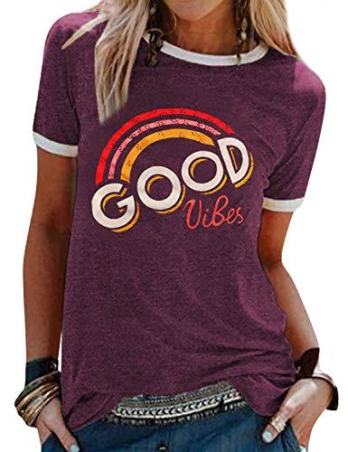 WIEIYM Damen T-Shirt mit Aufdruck Good Vibes Kurzarm Rundhals Regenbogen Tee Shirt Lässig Oberteil Frauen Sommer Bluse Lustig Sport Tops(Lila,M)