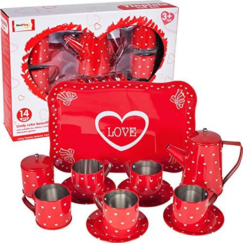 MalPlay Teeservice   Kaffeeservice Geschirr aus Metall   tolle Ergänzung für die Kinderküche   14-teiliges Teeset   Teller   Tassen   Tablett   für Kinder Mädchen ab 3 Jahren