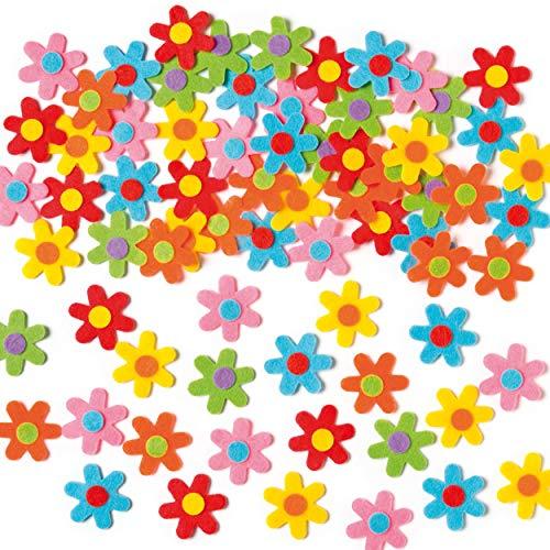Baker Ross Selbstklebende Filz-Blumen zum Basteln für Kinder ideal für Frühling und Karnival - 60 Stück