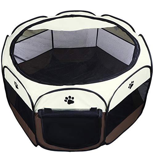 Coolty Faltbar Welpenlaufstall Tierlaufstall für Kleintiere wie Hunde, Katzen, Kaninchen, 73 * 73 * 43cm (Braun)