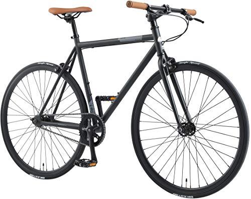 BIKESTAR Singlespeed 700C 28 Zoll City Stadt Fahrrad Fixie | 53 cm Rahmen Rennrad Retro Vintage Herren Damen Rad | Schwarz & Grau | Risikofrei Testen