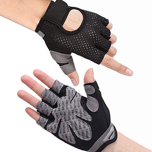 Hually Fitness Handschuhe, Trainingshandschuhe,rutschfest Gewichtheben Handschuhe,extra leicht und atmungsaktiv für Bodybuilding, Crossfit,Krafttraining,Fahrrad Fahren,Damen&Herren(L)