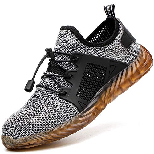 COOU Arbeitsschuhe Herren S3 Leicht Comfort Sicherheitsschuhe rutschfest Sportlich Jogger Sneaker für Frauen Männer, Grau, 43 EU
