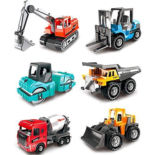 Dreamon Mini Baufahrzeuge Spielzeug Auto, Kinder Legierung Bagger Lastwagen Autos Set, Buntes Kleine Geschenk für Kinder ab 3 Jahren