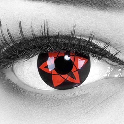 Meralens 1 Paar Farbige Anime Manga Kontaktlinsen Ohne Stärke mit Kontaktlinsenbehälter - Sharingan Sasuke Ewiges Mangekyou rot schwarz perfekt zu Hereos of Cosplay Halloween rote 12 Monatslinsen
