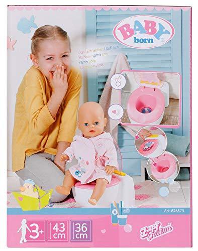 Zapf Creation 828373 BABY born Bath Toilette mit Geräuschfunktion und glitzerndem Häufchen zum wegspülen, Puppenzubehör 43 cm