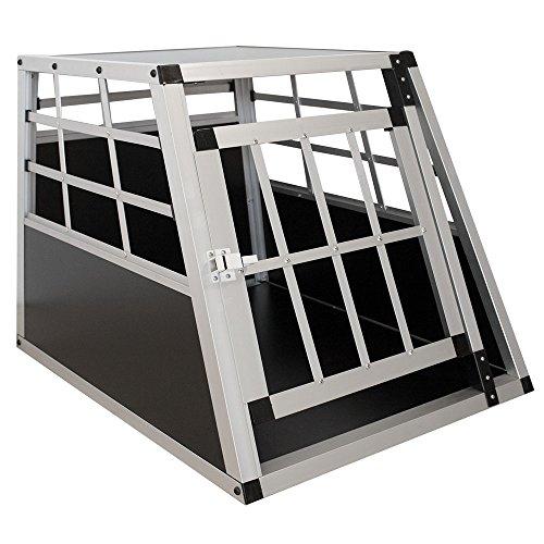 Sam´s Pet Aluminium Hundetransportbox Größe M schwarz/Silber | Alu Auto Transportbox kleine Hunde | Hundebox für PKW Kofferraum