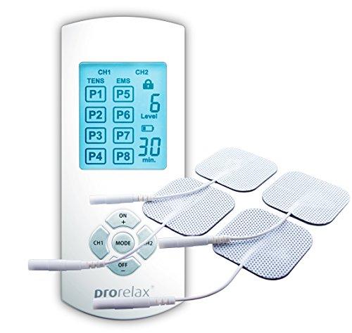Prorelax TENS+EMS Duo Comfort Gerät- Natürliche Therapie gegen chronische Schmerzen und zum Muskelaufbau, Therapiemodus