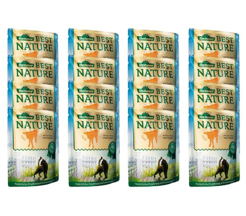 Dehner Best Nature Katzenfutter Adult, Kalb und Zucchini mit Distelöl, im Beutel, 16 x 85 g (1.36 kg)
