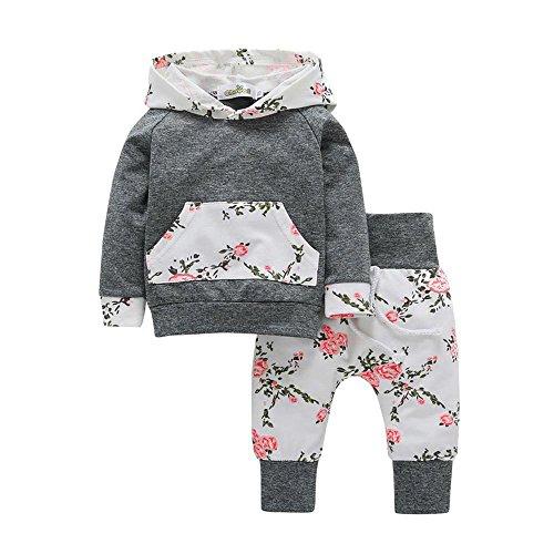 Babykleidung,Honestyi 2er Kleinkind Baby Boy Mädchen Kleidung Set Floral Hoodie Tops + Hosen Set Outfits (Grau, 18-24M/100CM)