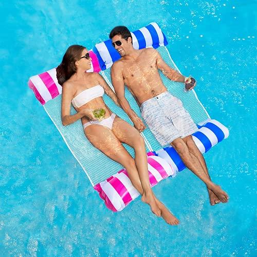 ECtury Luftmatratze Pool, Pool Spielzeug Wasserhängematte mit Netz, 4 in 1 Luftmatratze Wasserspielzeug Sessel Matratzen Sitz schwimmmatratze, Pool Zubehör Spaß Erwachsene Kinder(Blau)