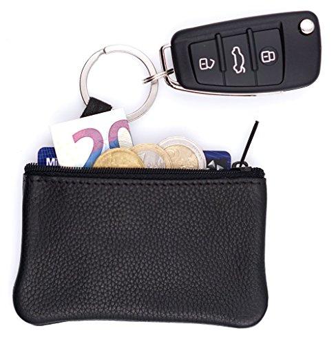 Festland DESIGN® Echt Leder Schlüsseltasche Schwarz, Schlüsseletui für Schlüsselbund und Autoschlüssel, Schlüsselmäppchen für Damen & Herren - Handarbeit - Made in Germany (Schwarz 1 Fach)