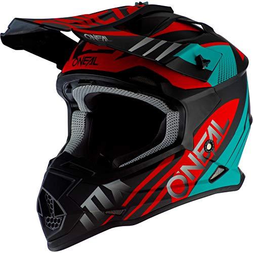 O'Neal 2Series Unisex Offroad-Helm im Spyde-Style, Schwarz/Hi-Viz, Größe M, Offroad, Mittel, Schwarz/Petrol/Rot