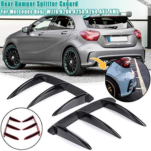 HUANGRONG Auto-ABS Schwarz-Heckschürze Canards for Mercedes for Benz W176 A200 A250 A260 A45 for AMG 2ST Ersatz Zubehör