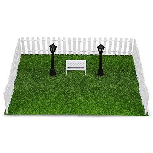 FORMIZON Miniatur Puppenhaus Gartenmöbel, 8 Stück Garten Puppenhaus Dekoration Ornamente, Rasen Zaun Parkbank Licht für DIY Dekorative Verzierungen, Outdoor Decor, Home Dekoration (Miniatur)
