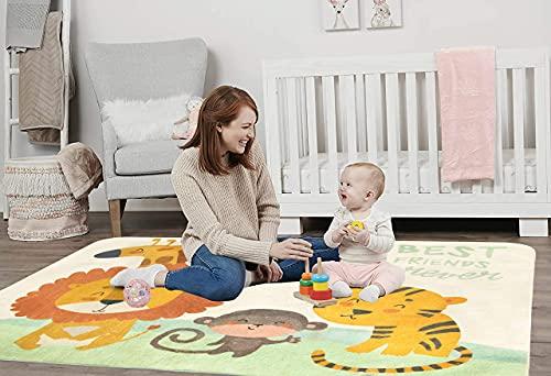 SHACOS Kinderteppich Moderner Kinderzimmer Weich Teppich Baumwolle Baby Krabbelunterlage Groß Waschbar rutschfest Mädchen Junge Spielteppich für Babyzimmer, 120x160cm