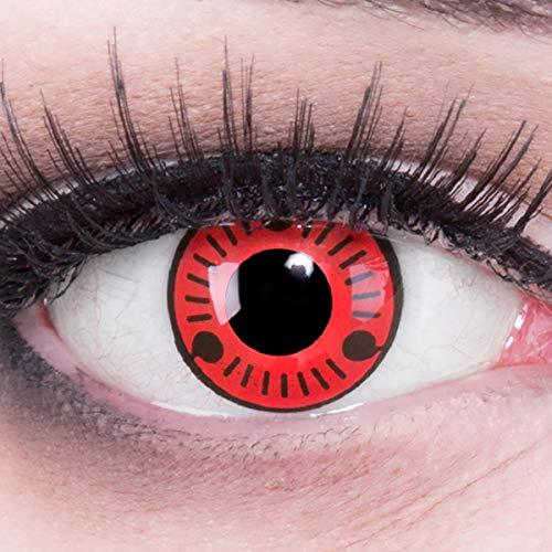 Farbige Sharingan Crazy Fun Kontaktlinsen 'Sasuke' Ohne Stärke mit Gratis Linsenbehälter - Topqualität zu Karneval, Fasching und Halloween 2020 (0.00 Ohne Stärke)