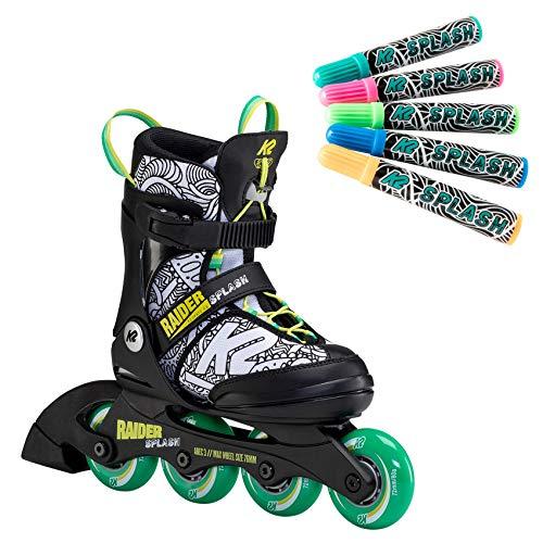 K2 Inline Skates RAIDER SPLASH Für Jungen Mit K2 Softboot, Black - Green - Splash, 30F0116