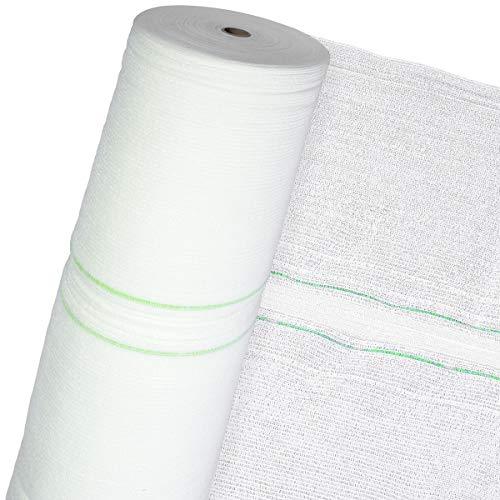 HaGa® Schattiernetz 3m x 1m (Meterware) mit 60% Schattierwirkung in weiß - Sonnenschutzgewebe Sichtschutz - atmungsaktiv - Schattierwierkung - Sonnenschutzgewebe