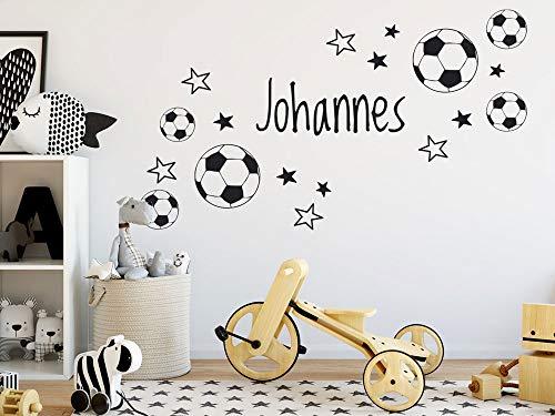 GRAZDesign Wandtattoo Fussball mit Name Kinderzimmer, Geschenk für Junge, Fussballbälle Ball, personalisierte Fußball Geschenke für Kinder / 70x40cm / Hellblau