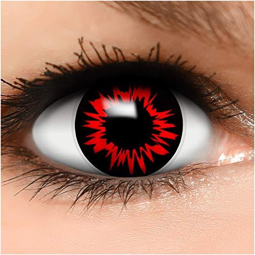 Farbige Kontaktlinsen 'Headshot' in schwarz & rot, weich ohne Stärke, 2er Pack inkl. Behälter - Top-Markenqualität, angenehm zu tragen und perfekt zu Halloween oder Karneval