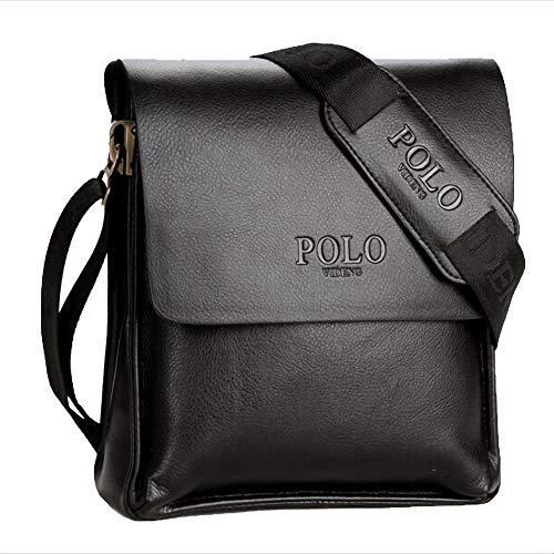 Umhängetasche Herren, Premium Herrentasche, Messenger Bag Schultertasche Geschäft Tasche Normallack Verdeckter Knopf,Blacktrumpet