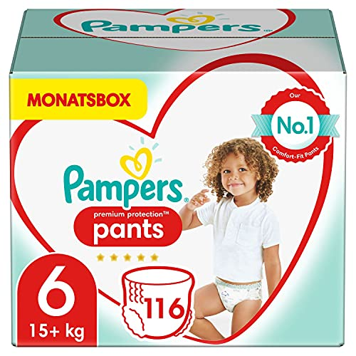 Pampers Baby Windeln Pants Größe 6 (15+ kg) Premium Protection, 116 Höschenwindeln, MONATSBOX, Weichster Komfort Und Einfaches Anziehen