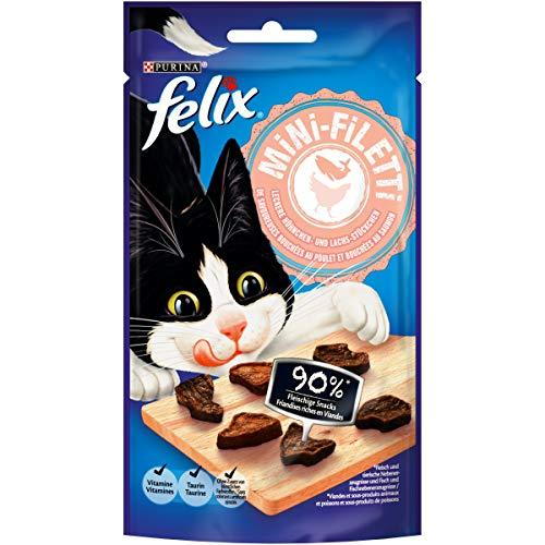 FELIX Mini-Filetti Katzen-Leckerlies mit 90% Fleischanteil, mit Huhn & Lachs, 7er Pack (7 x 40g)