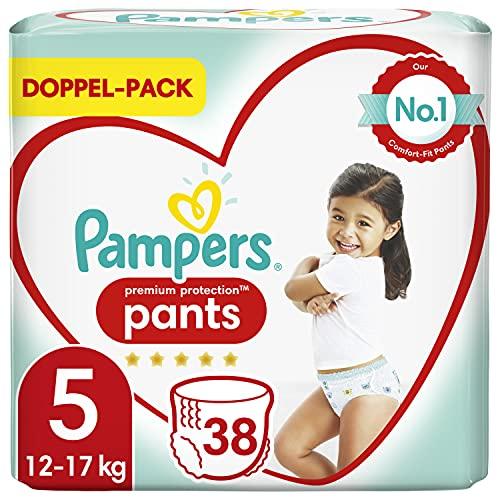 Pampers Baby Windeln Pants Größe 5 (12-17kg) Premium Protection, 38 Höschenwindeln, Komfort und Schutz Für einfaches Anziehen