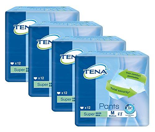 Tena Pants Super mittelgroß (M) Schutzhosen für starke Blasenschwäche / Inkontinenz - atmungsaktiv, sehr diskret und doppelter Auslaufschutz - Vorteilspack 4er Pack (4 x 12 Stück)