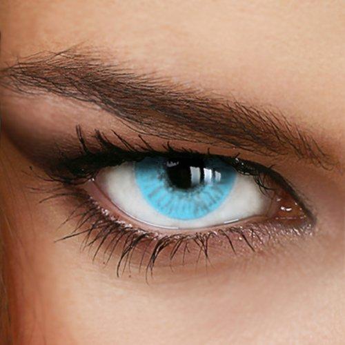 Hellblaue Jahres-Kontaktlinsen Naturally SWEET AQUA - MIT und OHNE Stärke in Light-Blue - von LUXDELUX® - ohne Stärke (+/- 0.00 DPT)