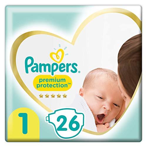Pampers Größe 1 Premium Protection Baby Windeln, 26 Stück, Tragepack, Weichster Komfort Und Schutz (2-5kg)