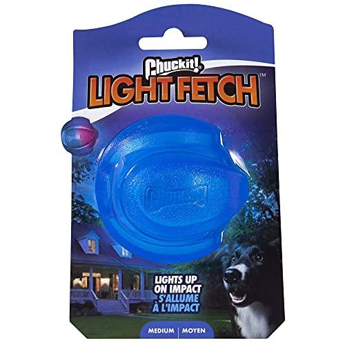Chuckit! Light Up Apportierball aus Gummi, kompatibel mit hoher Sprungkraft, blinkendes Spielzeug für Land und Wasser, Größe M