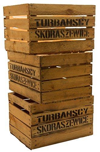 3er Set Massive Obstkiste Apfelkiste Weinkiste aus dem Alten Land 49 x 42 x 31 cm (GEBRAUCHT MIT Aufschrift TS)