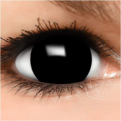 Farbige Maxi Black Sclera Kontaktlinsen Lenses inkl. Behälter - Top Linsenfinder Markenqualität, 1Paar (2 Stück)