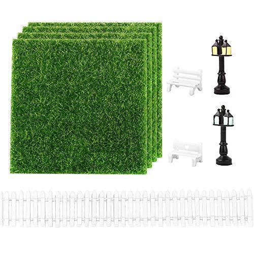 MEJOSER 9Pcs Miniatur Bank Zaun Kunstrasen Wiese Gras zum Basteln (15x15cm) Straßenlaterne als Gartenmöbel für Miniatur-Ornament Miniaturgarten Zubehör Set Mikrolandschaft Miniatur Garten Deko