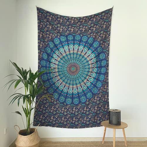 momomus Mandala Wandteppich - Großes Mandala Strandtuch - Pareo Tuch groß - 100% Baumwolle, Indian, Hippie, Boho, Bohemian (Blau A, 135x210 cm)