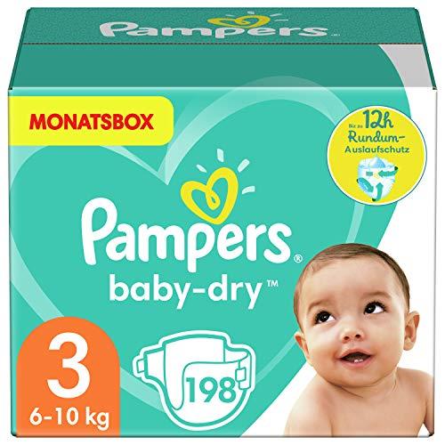 Pampers Größe 3 Baby Dry Windeln, 198 Stück, MONATSBOX, Für Atmungsaktive Trockenheit (6-10kg)
