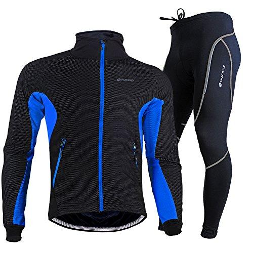 TollMode Herren Fahrradbekleidung Set Lang Winter Radjacke und Fahrradhosen (XL, Blau)