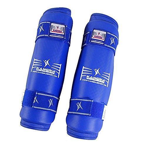 Taekwondo Karate Sanda Box Boxen Kampfsport Training Wettkampf Schutzausrüstung Schutz Beine Unterarm Schützer Schienbeinschützer blau L