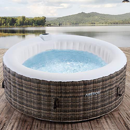 Arebos Whirlpool Granada   Aufblasbar   In- & Outdoor   4 Personen   Rattan   100 Massagedüsen   mit Heizung   800 Liter   Inkl. Abdeckung   Bubble Spa & Wellness Massage