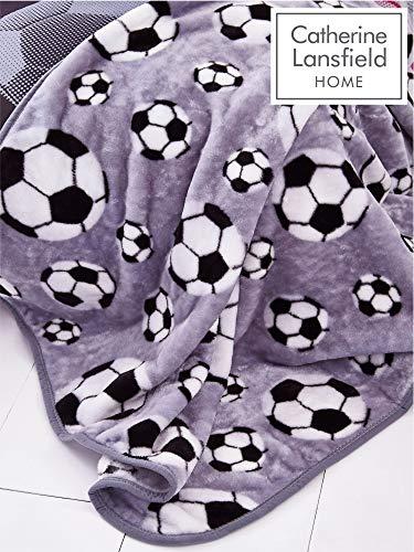 Catherine Lansfield Fußball-Überwurf, grau, 120 x 150 cm