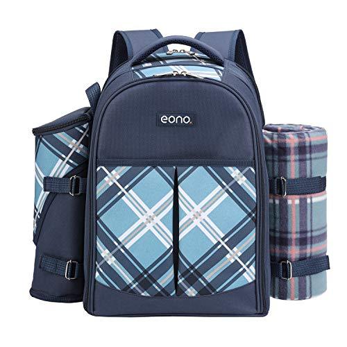 Eono by Amazon - Picknickrucksack für 4 Personen mit Fleece-Decke und Kühlfach