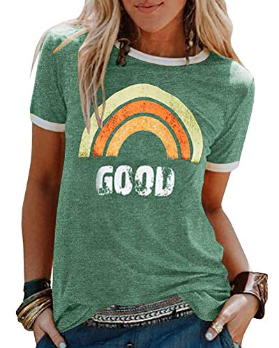 ORANDESIGNE Damen Good T-Shirt Regenbogen Muster Shirt Rundhals Kurzarm Oberteile Hemd Tops Bluse Sommer Grafik Drucken Tee Tops A Grün 38