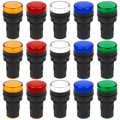 Iyowei 15 Stück LED-Kontrollleuchten 22mm Kontrollleuchte 220-230V LED Flush Panel Mount Weiß Gelb Rot Blau Grün Signallampe Anzeige Leuchte Lampe Armaturenbrett für Telekommunikation Werkzeug